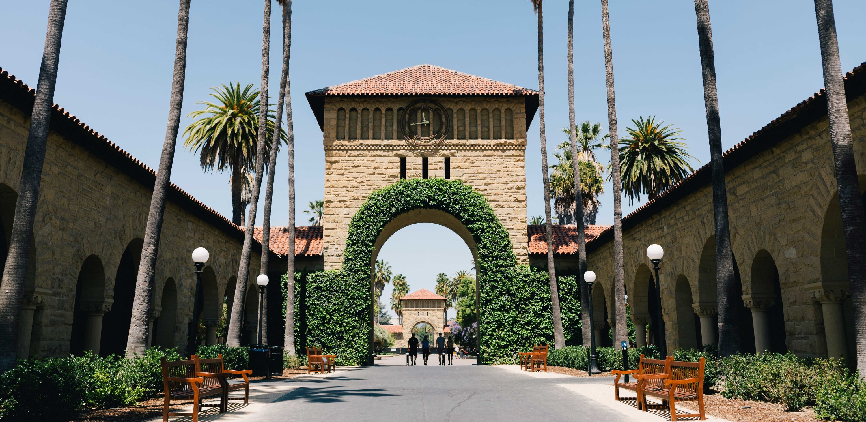 Photo of a decorative arch and palm trees on the Stanford campus.